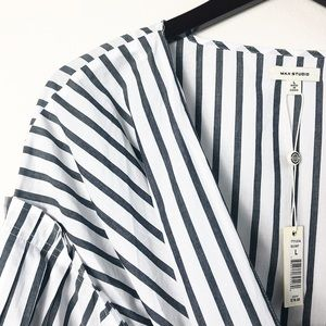 Max Studio Wrap Blouse Gray White Size Large